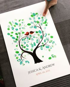 The guests did an amazing job on this fingerprint guestbook. 🕊Watercolor painted treetrunk and lovebirds with fingerprints as leaves. - all custom requests are welcome at www.OnceUponaPaper.net #reception #guestbook #familytree #guestbookalternative #tree #treeoflife #treehugger #watercolor #familytree #anniversarygift #newfamily #babybird #babyart #baptism #artiststudio #wedding #fingerprint #leaves #fingerprintguestbook