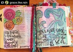 #GLOW2016 #glowbiblejournaling #bible #art #journalyourjourney #biblejournaling #journalingbiblecommunity #journalingBible #illustratedfaith #biblestudymoments #writtenworship #scripturedoodle  #Repost @grace.like.rain with @repostapp  These pages are from a little while ago but the messages are so good #biblejournaling #illustratedfaith #watercolor #bible #biblejournalingcommunity by glowbiblejournaling