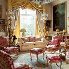 Opulent townhouse sitting room off Grosvenor Square, London.