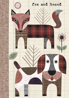Fox and Hound quilt block Paper Piecing Patterns, Applique Patterns, Applique Designs, Quilt Patterns, Dog Quilts, Cat Quilt, Animal Quilts, Penny Rugs, Wool Applique