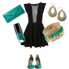 Black Dress and Green Accessories