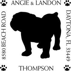 English Bulldog custom address stamp