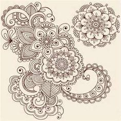 Flowers And Mandala Mehndi Henna Tattoo Paisley Doodle Illustration