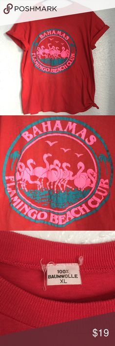 VTG 80's pink flamingos club Bahamas tourist tee vintage 1980's puffy print pink flamingos (makes me think of john waters <3) Bahamas touristy t-shirt - XL - buttery soft & paper thin... some fading and cracks in the print (pictured) ---> Seller discount is 30% off 3+ items - offers are welcome on single listings, as well as bundles :) Vintage Tops Tees - Short Sleeve