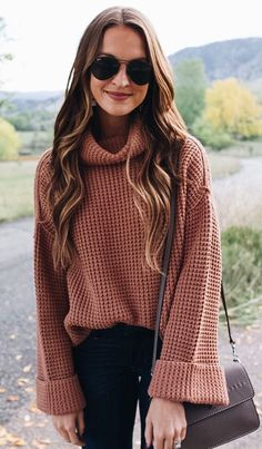 #fall #outfits women's brown sweater