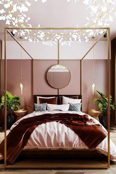 Flashy Bright Bedroom Chandelier Gives Light and Art to Modern Bed with Canopy and Pink Accents. – Tilly Flashy Bright Bedroom Chandelier Gives Light and Art to Modern Bed with Canopy and Pink Accents. Patio Interior, Home Interior, Interior Design, Luxury Interior, Home Decor Bedroom, Modern Bedroom, Cozy Bedroom, Bedding Decor, Girls Bedroom