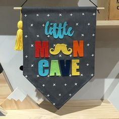 Little man cave wall banner boys room wall flag by Hangingwithlucy