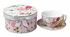 Lightahead Bone China Cup and Saucer Set in a Reusable Handmade Gift Box with Ribbon and Bead, Tassel on handle, in pretty pink garden design ad