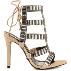 Schutz Women's Paloma - Camur Sue Dub ($240) ❤ liked on Polyvore featuring shoes, sandals, beige, lace up high heel sandals, beige high heel sandals, strappy sandals, sexy shoes and beige strappy sandals