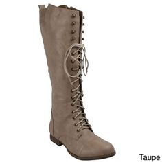 Refresh Women's 'Libby-05' Lace-up Knee-high Riding Boots | Overstock.com Shopping - The Best Deals on Boots
