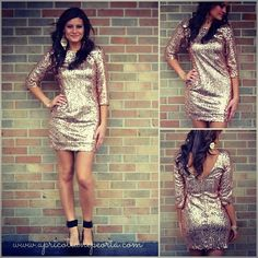 """Online re-stock! $39 rose gold sequin dress. Under """"re-stocks"""" and """"dresses"""" www.apricotlanepeoria.com #sequins #dresses #holiday #apricotlane  #apricotlanepeoria"""