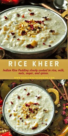 Rice Kheer | Indian Rice Pudding (6 ingredients, gluten-free) – Honey, Whats Cooking Rice Pudding Recipes, Pudding Flavors, Pudding Desserts, Eggless Desserts, Gluten Free Desserts, How To Cook Rice, What To Cook, Chef Recipes, Food Network Recipes