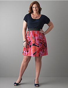 Pair with white cardigan, navy flats. LB Floral skirt twofer dress. #plus #size