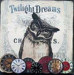 An inquisitive owl nestled amongst the clock faces, his timing is perfect Dream Collage, Collage Art, Owl Writing, Shabby, Postcard Art, Draw On Photos, Vintage Birds, Retro Vintage, Dream Art