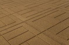 """Outdoor Interlocking Rubber Pavers - Beige Pigment - Brick/24""""x24""""x3/4"""""""