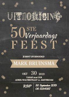 Hippe krijtbord uitnodigingskaart voor een 50 jarige, verkrijgbaar bij #kaartje2go voor €1,89