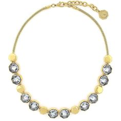 Louise Et Cie Bleeker Street Beaded Collar Necklace ($128) ❤ liked on Polyvore featuring jewelry, necklaces, gold, collar necklace, collar jewelry, glitter jewelry, golden necklace and clear bead necklace