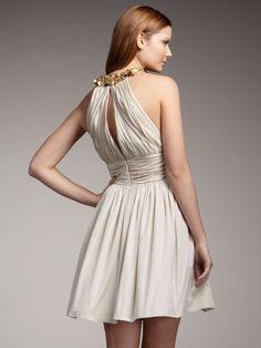 2012 Style A-line High Neck  Beading  Sleeveless Knee-length  Chiffon White Cocktail Dress (SZ021470 )