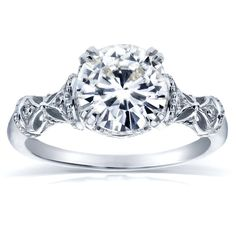 Annello by Kobelli 14k Gold Round-cut Moissanite and Diamond Antique Decorative Engagement Rin