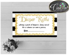 Baby shower DIAPER RAFFLE insert card printable for baby shower with black stripes color theme, digital Jpg Pdf, instant download - bs001 #babyshowerparty #babyshowerinvites