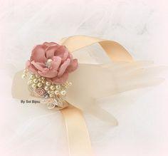 Wedding Cuff Dusty Rose Gold Champagne Tan Wrist Corsage