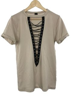 brooke lace-up tee (taupe)