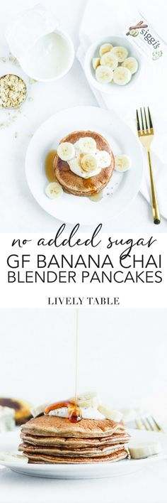 Wake up to a nutritious and delicious breakfast with these gluten-free, no added sugar banana chai blender pancakes. Made with simple ingredients in just minutes, they are a great protein-filled way to start your day! They're great to meal prep for the week ahead. (#glutenfree, #noaddedsugar, #nutfree) (sponsored) #pancakes #breakfast #brunch #banana #chai #blenderrecipes #easy