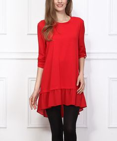 red ruffle high/low button sleeve