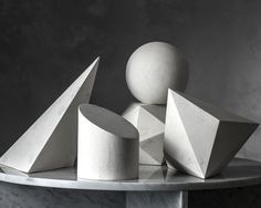 2 is one of five geometric stone sculptures in the exclusive Amy Meier Collection for Stone Yard. These modern shapes have an aged gesso finish. Geometric Drawing, Abstract Shapes, Geometric Shapes, Nathalie Du Pasquier, Geometric Sculpture, Crystal Garden, Still Life Drawing, Basic Drawing, Diy Home Decor On A Budget