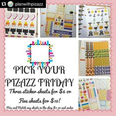 YES! Today is Friday which means it's pay day for most of us! Treat yo'self to some pizazz!  #PWPPR  Welcome to PICK YOUR PIZAZZ FRIDAYS!! ------------------------------------------------ Choose 5 sheets for $10 or 3 sheets for $6 ------------------------------------------------  This special promo is valid Fridays at 12am EST -Ends Friday at 11:59EST  This is a special promotion so no coupon codes will be accepted. Sorry You can purchase as many sets at the promo price as you you would…