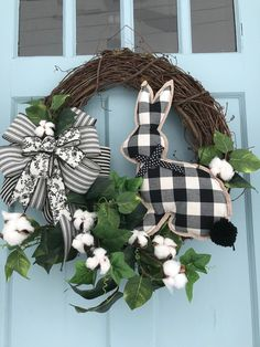 black and white plaid bow & bunny Cotton Accents Elegant All Season Grapevine Wreath for Door. Wreaths, wreaths for front door, farmhouse, - black and white plaid bow & bunny Cotton Accents Elegant All Season Grapevine Wreath for Door. Easter Wreaths, Holiday Wreaths, Holiday Crafts, Diy Wreath, Grapevine Wreath, White Wreath, Diy Ostern, Wreaths For Front Door, Easter Crafts