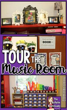 Tour the music room and see great ideas for decorating, organizing, classroom set up, bulletin boards and more. This room features a rainbow and black and white polka dot theme. Students in use the room so the set up works for multiple age levels. Kindergarten Music, Preschool Music, Teaching Music, Preschool Bulletin, Music Room Organization, Classroom Organization, Organizing, Organization Ideas, General Music Classroom
