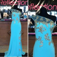 Prom Gown,Blue Prom Dresses,One Shoulder Evening Gowns,Simple Formal