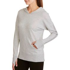 Danskin Now Women's Active Yoga French Terry Hoodie, Gray