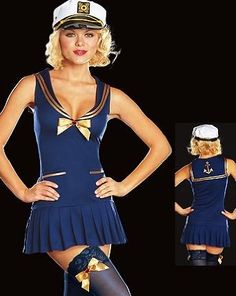 Sea Side Pin Up - Women's Sexy Tropical Costumes Lingerie Outfit. 3 Piece Sexy Knit Sailor Dress with Embroidered Back Collar. Includes Captain?s Hat and Bow Trimmed Stockings.