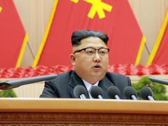 North Korean leader Kim Jong-Un delivering a speech at the First Conference of Chairpersons of the Primary Committees of the Workers' Party of Korea. Picture: AFP