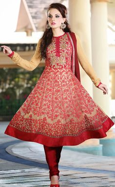 Trendy Beige Brown and Red Anarkali Salwar Kameez - IG8543