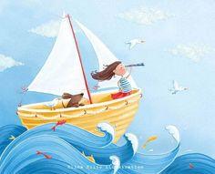 Elina Ellis Illustration: My illustrations Sailor Illustration, Children's Book Illustration, Drawing For Kids, Art For Kids, The Pirates, Deco Marine, Cute Drawings, Dachshund, Illustrators
