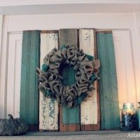 Rustic fall mantel with mason jars and chippy wood - Burlap Projects