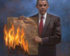 An anti-gun control poster showing President Obama burning the U.S. Constitution.