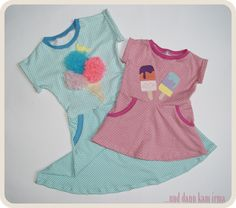 Sommerkleidchen mit Eis-Applikation, ice cream appliqué free pattern and tutorial