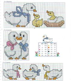 I think my mom or grandma used to have stuff with these ducks on it. Cross Stitch For Kids, Cross Stitch Kitchen, Cross Stitch Bird, Cross Stitch Borders, Cross Stitch Animals, Cross Stitch Charts, Cross Stitch Designs, Cross Stitching, Cross Stitch Embroidery