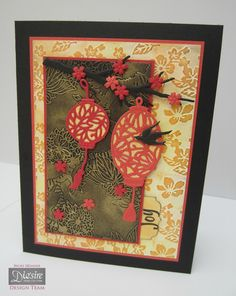 Crafter's Companion Kimono Collection - CD, Embossing Folders, Dies and Stamps… Asian Crafts, Chinese Crafts, Hand Made Greeting Cards, Greeting Cards Handmade, Card Making Inspiration, Making Ideas, Creative Christmas Cards, Chinese New Year Card, Crafters Companion Cards