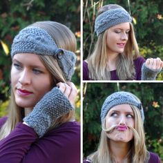 Instructions: bandeau à boutons en tricot - Lilly is Love Cable Knitting Patterns, Easy Knitting, Knitted Headband, Knitted Hats, Knit Crochet, Crochet Hats, Decorating Bookshelves, Bandeau, Headband Hairstyles