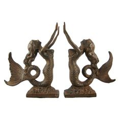 Cast Iron Mermaid Bookends Antiqued Finish