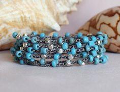 Blue Grey Silver Beaded Crochet Wrap Bracelet Beaded от PJsPrettys
