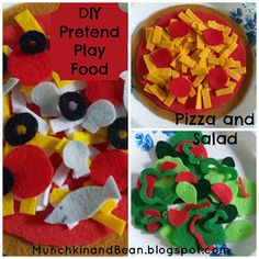 Munchkin and Bean: DIY Pretend Play Food: Pizza and Salad