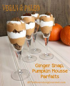 Recipe: These Gingersnap Pumpkin Mousse Parfaits are a wonderful combination of flavors, plus they are grain free, gluten free, dairy free, egg free! Perfect for Thanksgiving or Christmas. On thenourishinggourmet.com