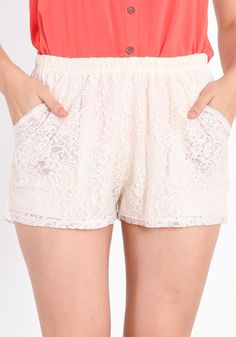 THREADsence Fairground traveler lace shorts $33 cream lace shorts #fashion #outfit #clothes #women #shorts #pants #lace #cream #sexy #feminine #romantic #spring #trendy #summer #cute #retro #white