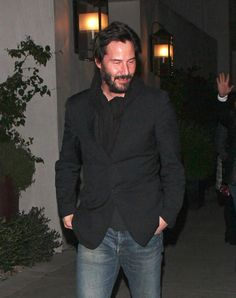 Keanu Reeves seen leaving from the Spago restaurant in Beverly Hills after dining with friends. The 48 year old 'Matrix' star was seen looking a little scruffy wearing his normal beard and was dressed down in blue jeans a black suit jacket. Black Suit Jacket, Black Suits, Keanu Reeves Quotes, The Boy Next Door, Keanu Charles Reeves, Vintage Boys, Gorgeous Body, Future Husband, The Man